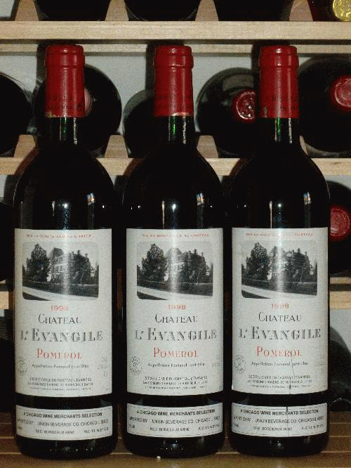 1998 L'Evangile  Pomerol  **  WS98 NM95 POINTS  **  3  PRISTINE BOTTLES AVAILABLE  ** PHENOMENAL VINTAGE FOR THE RIGHT BANK!!!
