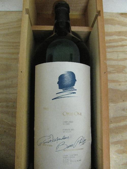 1985 opus one proprietary red wine 6 liter w owc ws 95 pts super rare 2nd. Black Bedroom Furniture Sets. Home Design Ideas