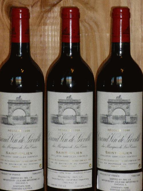 1996 Leoville-Las Cases   **  RP 98 POINTS  **  3  PERFECT BOTTLES AVAILABLE  **  OWNED AND CELLARED SINCE RELEASE!!!