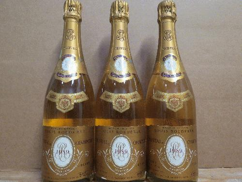 1989 Roederer, Louis Cristal *** Dutch lot of 3 *** WS 92 pts *** Perfect condition and great fill!!!! *** $1 start / no reserve *** See my other lots********
